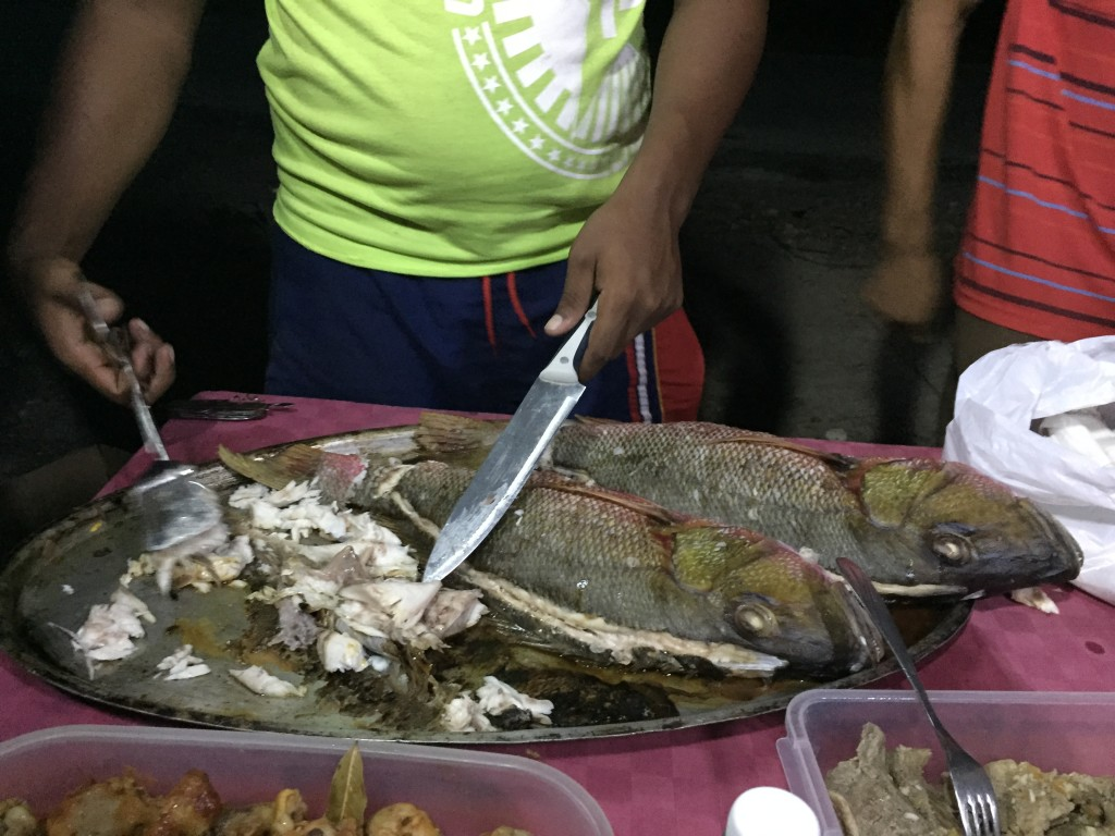 Beautiful red snapper served on Playa Ancon